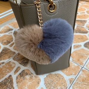 Accessories - Heart shaped Pom Pom bag charm puffy rabbit fur